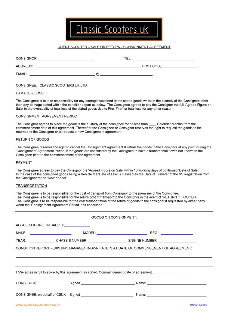 CSUK Consignment Agreement Form